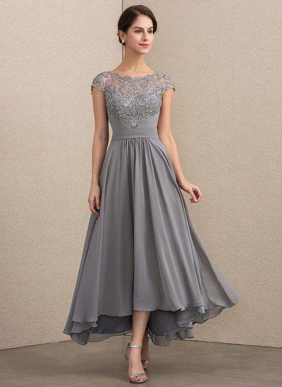 Beżowo szara koronkowa sukienka wieczorowa, na wesele, dla