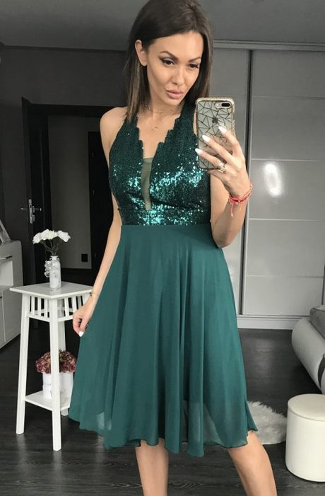 Cekinowa zielona sukienka HM w Suknie i sukienki - Szafa.pl
